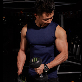 Bullying Muscle men's training Slim fit sleeveless leotard waistcoat vest (Sapphire blue color)