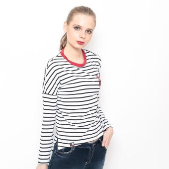 Bum Ladies Striper Long Tee (White/Black/Red) - 2