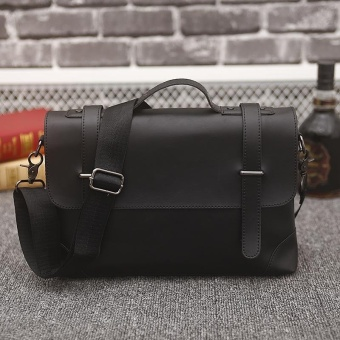 Business Tote Single Shoulder Large Capacity Leather Bag for Men (black) - intl