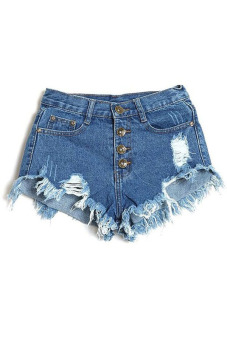 Buttons Ripped Fringe Denim Shorts (Blue) (Intl)