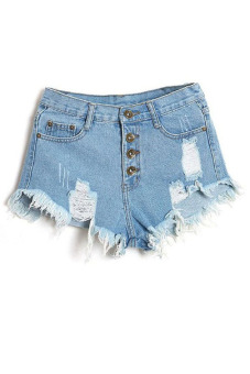 Buttons Ripped Fringe Denim Shorts (Light Blue)