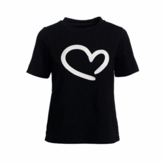 Buy 1 Take 1 Cotton Shirts With Heart Style Print - Black and White - 3