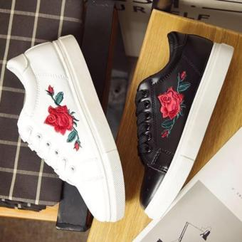 Buy 1 Take 1 Korean Sneakers with Flower Patch Style - Black and White Price Philippines