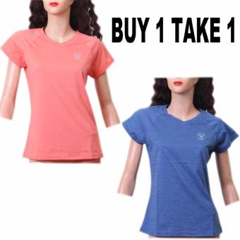 BUY 1 TAKE 1 Outperformer Running Cycling Fitness Cotton RichSports V-Neck Shorts Sleeve (Coral and Heather Blue)