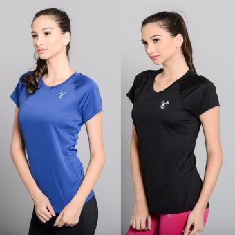 BUY 1 TAKE 1 Outperformer Running Cycling Fitness T-Shirt withExtra Stretch and Dryperform Technology (Ebony and Royal Blue)