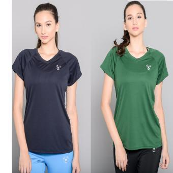 BUY 1 TAKE 1 Outperformer Running Cycling Fitness T-Shirt withExtra Stretch and Dryperform Technology (Navy and Dark Green)