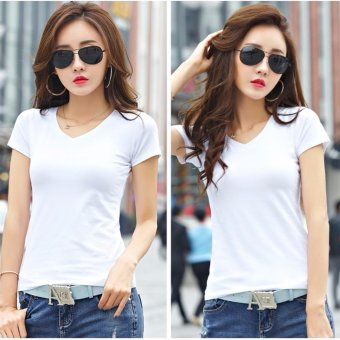 Buy 1 Take 1 Women's White Cotton Plain V-Neck Blouse Shirt