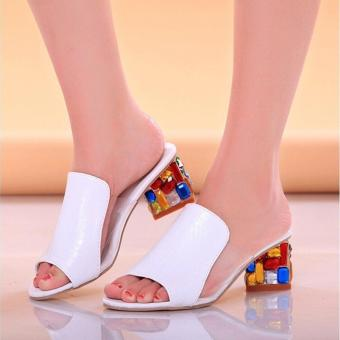 BUYINCOINS Sexy Peep-toe Summer New Fashion Women Shoes Thick WithDiamond Crystal Sandals Slippers EU:36-White - intl - 4