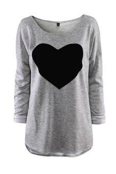 Buytra Heart Design Long Sleeve Blouse (Gray)