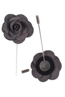 Buytra Lapel Pins Flower Handmade Boutonniere Stick Grey