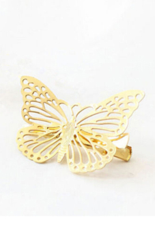 Buytra Shiny Hair Pin Vintage Hollow Butterfly (Gold)