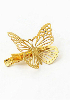 Buytra Shiny Hair Pin Vintage Hollow Butterfly (Gold) - picture 2