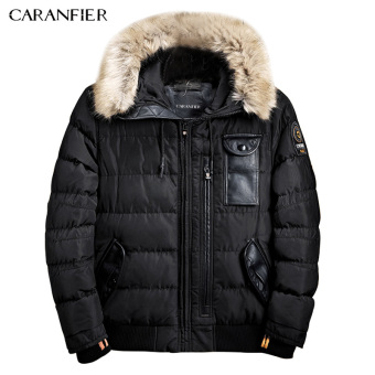 BYL caranfier jacket men length jacket men clothing zipper coat male (Black)