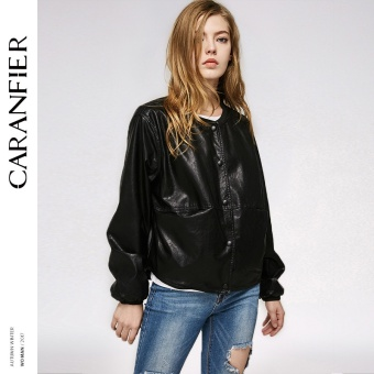 BYL caranfier leather jacket women casual long sleeve coats (Black)