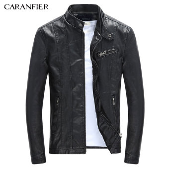 BYL caranfier men leather jacket Pu classic motorcycle coat (Black)