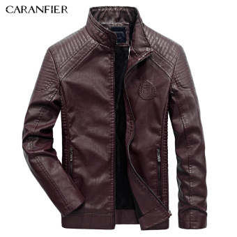 BYL caranfier men warm jacket fashion Pu faux leather coats (Red)
