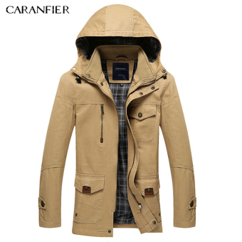 BYL caranfier mens casual jacket business cotton coat hats (Khaki)