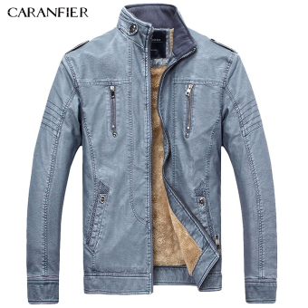 BYL caranfier mens casual jackets PU Leather outerwear coats (Blue)