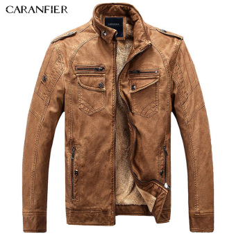 BYL caranfier mens fleece thick leather jackets outerwear (Brown)