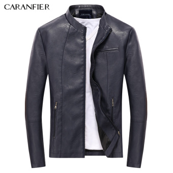 BYL caranfier PU Leather jackets men quality motorcycle coat (Blue)
