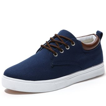 BYL flat canvas men bare for outdoor breathable casual shoes (Dark blue)