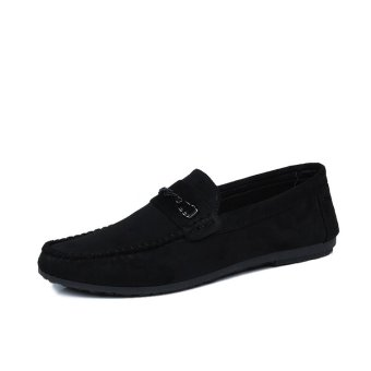 BYL-S men casual loafers shoes fashion flats sneakers (Black)