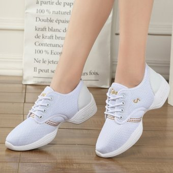 BYL-S outsole breath dancesneakers jazz hip hop shoes (White)