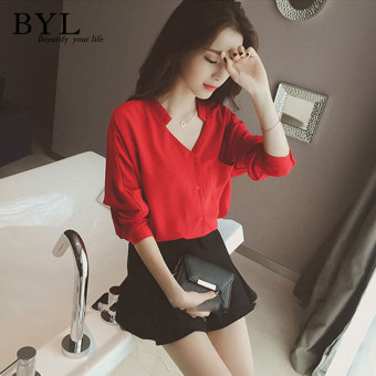 BYL shirts long sleeve casual women blouse popheko (Red)