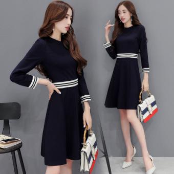 BylHan version of long-sleeved round neck slimming A-line dress