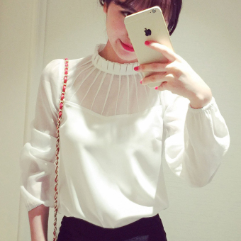 Caidaifei female Slim fit slimming chiffon shirt Korean-style bottoming shirt (White) (White)