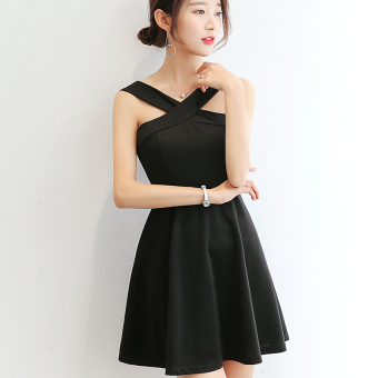 Caidaifei Korean-style Plus-sized sleeveless versatile bottoming dress (Black) (Black)
