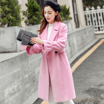 Caidaifei Korean-style Plus-sized slimming casual woolen coat