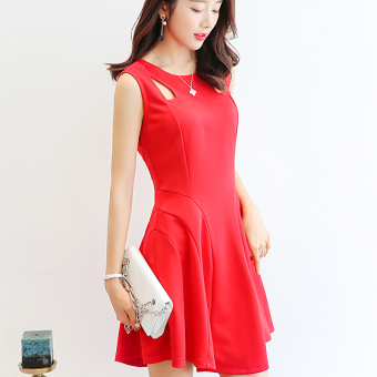 Caidaifei Korean-style Slim fit slimming Plus-sized sleeveless dress (Red) (Red)