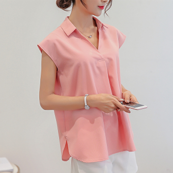 Caidaifei Korean-style solid base sleeveless chiffon white shirt Plus-sized shirt (Pink) (Pink)