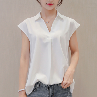 Caidaifei Korean-style solid base sleeveless chiffon white shirt Plus-sized shirt (White) (White)