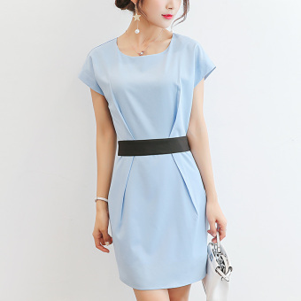Caidaifei Korean-style solid color short sleeved Slim fit dress (Sky blue color) (Sky blue color)