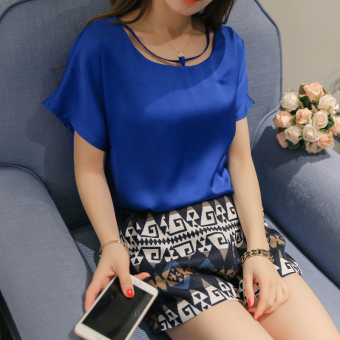 Caidaifei Korean-style solid spring and summer New style Top chiffon shirt (Sapphire blue color) (Sapphire blue color)