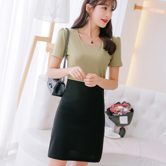 Caidaifei Korean-style spring and summer New style Plus-sized versatile dress (Beans yellow)