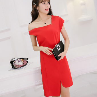 Caidaifei Korean-style spring and summer New style Plus-sized versatile dress (Red) (Red)