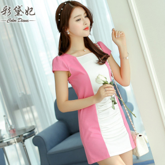 Caidaifei Korean-style spring and summer New style short sleeved base skirt women's dress (Light rose)