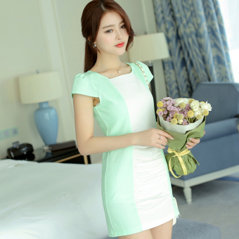 Caidaifei Korean-style spring and summer New style short sleeved base skirt women's dress (Mint Green)