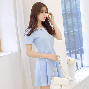 Caidaifei Korean-style spring and summer New style Women's Plus-sized dress (Short sleeved light blue)
