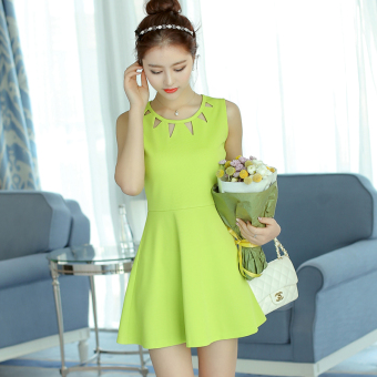Caidaifei Korean-style spring and summer New style Women's Plus-sized sleeveless knit dress (Scholar green) (Scholar green)