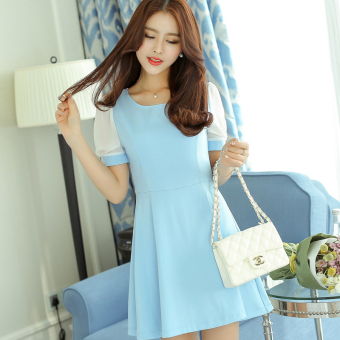 Caidaifei stitching Slim fit slimming short sleeved Korean-style bottoming dress women's dress
