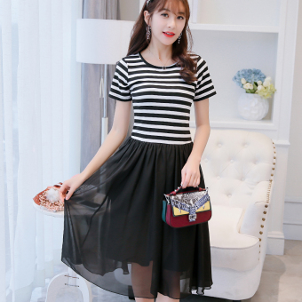 Caidaifei versitile fashion female slimming striped base skirt Korean-style short sleeved dress