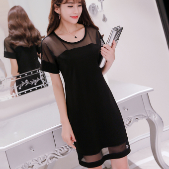 Caidaifei versitile fashion solid color female slimming base skirt Korean-style short sleeved dress