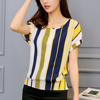CALAN DIANA Women's Casual Striped Short Sleeve Shirt (Yellow striped)