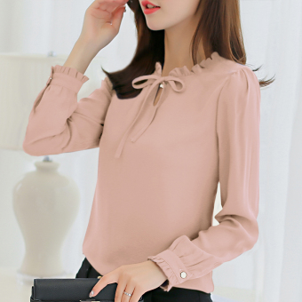 CALAN DIANA Women's Fashion Chiffon Short Long Sleeve Shirt Color Varies (Pink)