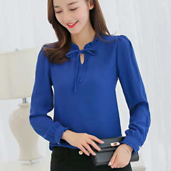 CALAN DIANA Women's Fashion Chiffon Short Long Sleeve Shirt Color Varies (Sapphire Blue)