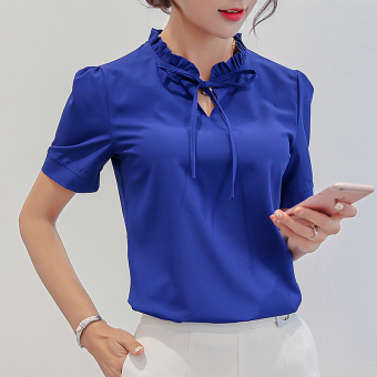 CALAN DIANA Women's Fashion Chiffon Short Long Sleeve Shirt Color Varies (Sapphire Blue (short sleeved))